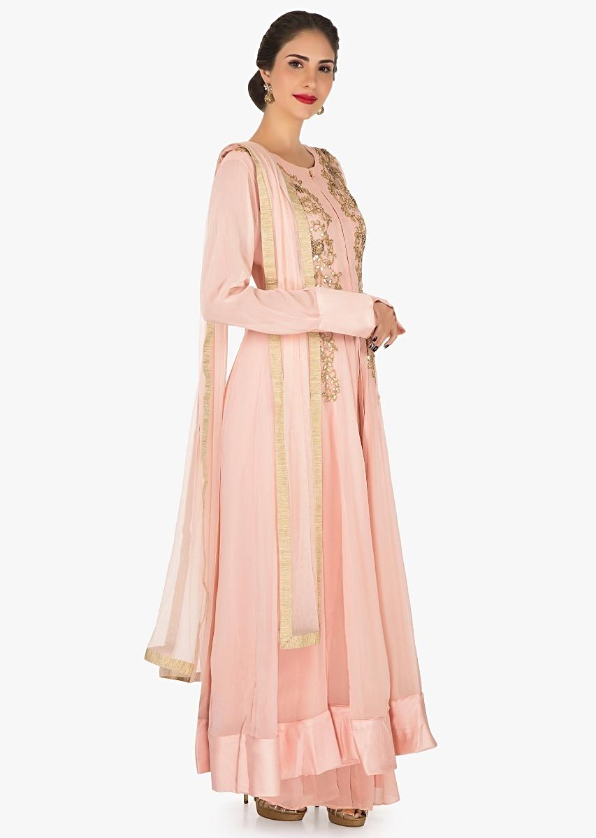 0d7f16f012 Peach anarkali palazzo suit in georgette crafted in gota patti embroidered  work only on Kalki