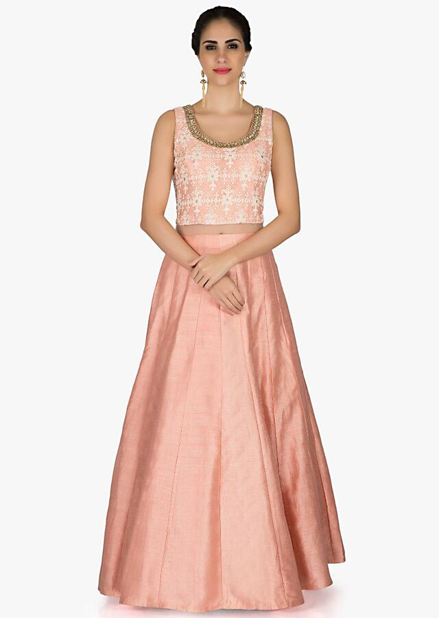 Peach Anarkali Suit With Lucknowi Thread Embroidered Bodice Online - Kalki Fashion