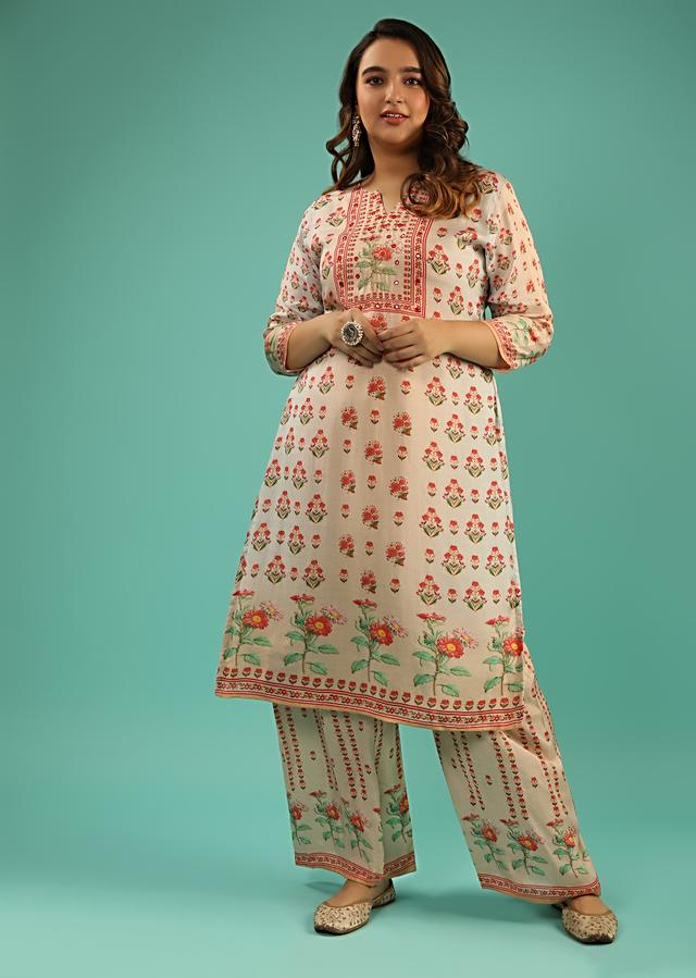Peach And Grey Shaded Straight Cut Palazzo Suit In Cotton With Floral Printed Buttis And Abla Work Online - Kalki Fashion
