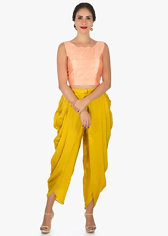 Peach And Mustard Dhoti Suit With The Over Layer Embellished In Resham And Sequin Butti Work Online - Kalki Fashion