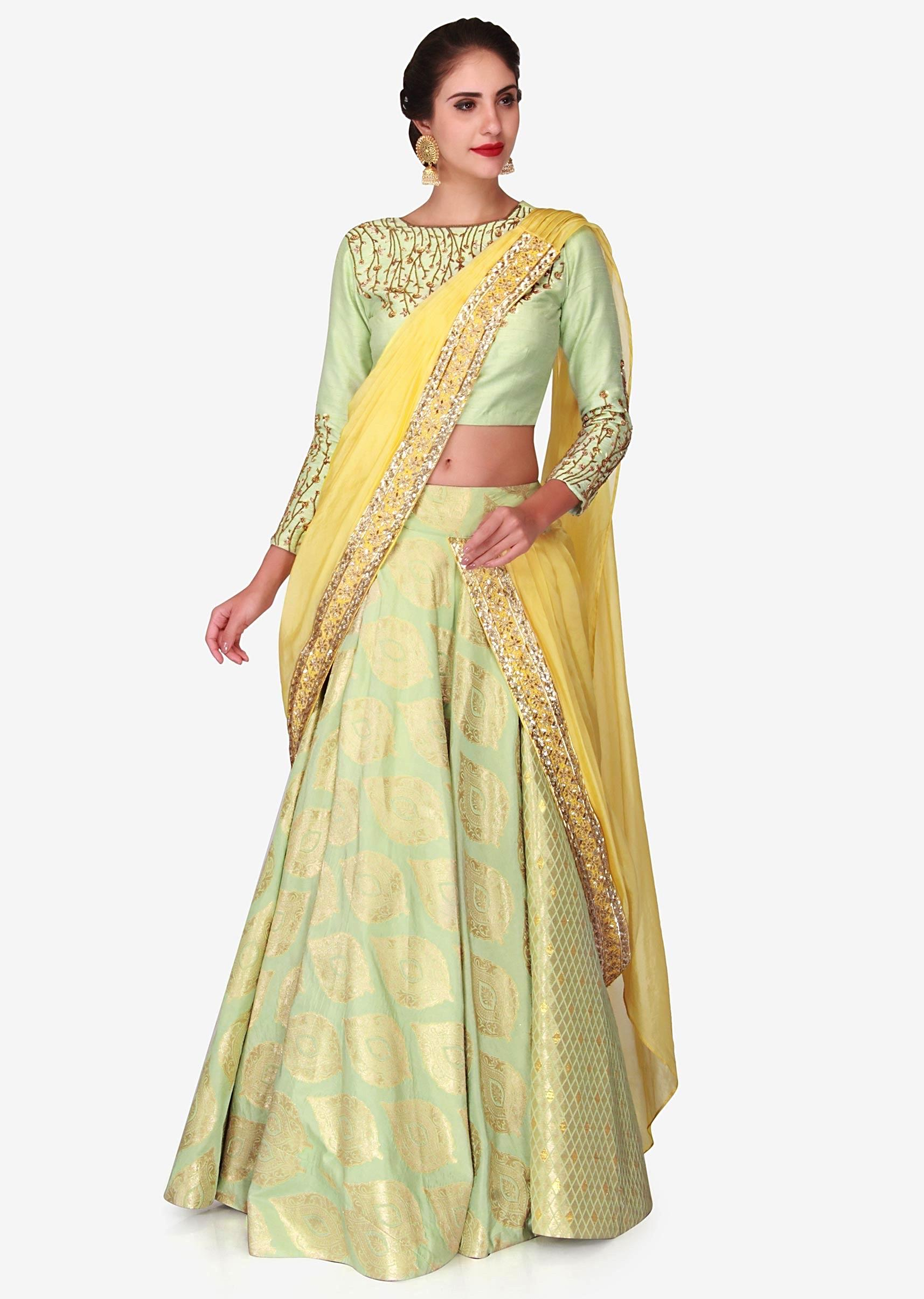 cec8db644f Light green brocade lehenga with a ready styled dupatta in yellow only on  KalkiMore Detail