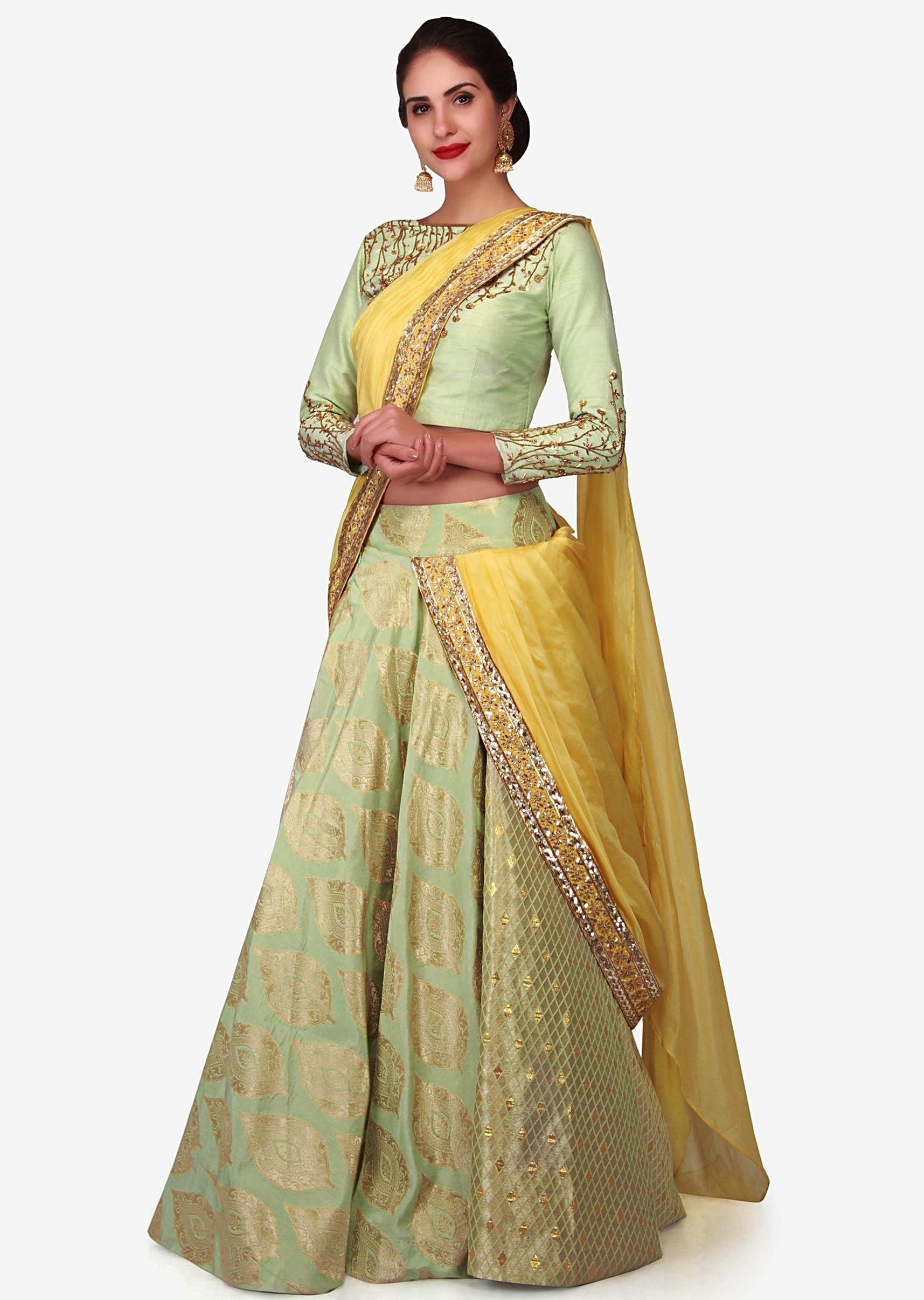 d9be50df25 Light green brocade lehenga with a ready styled dupatta in yellow only on  Kalki