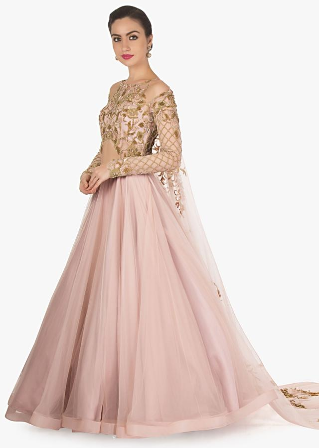 Peach Gown With Long Trail, Embroidery Bodice And Fancy Cut Outs Online - Kalki Fashion
