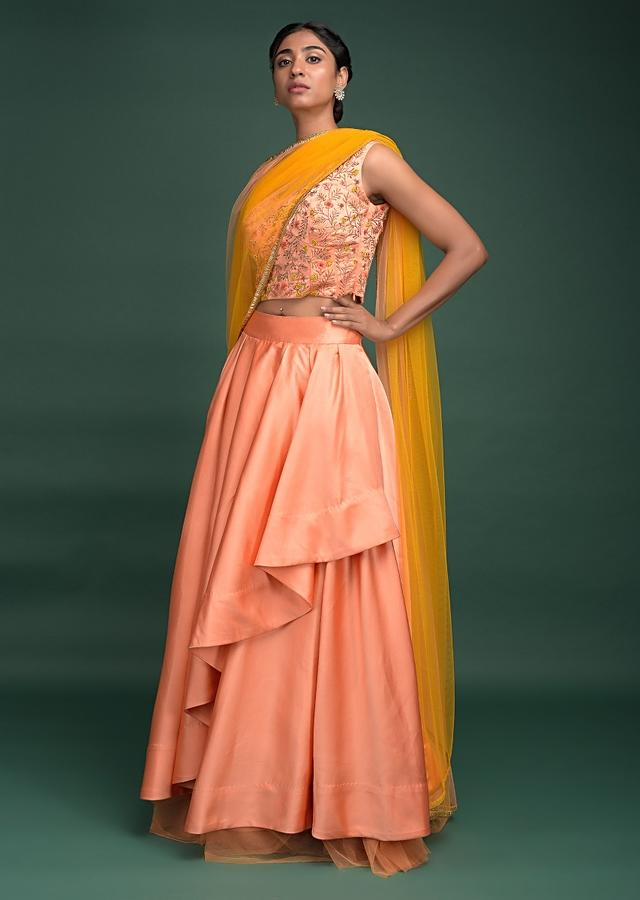 Peach Lehenga In Milano Satin With Pleated Overlapping Layer And Embroidered Corset Online - Kalki Fashion