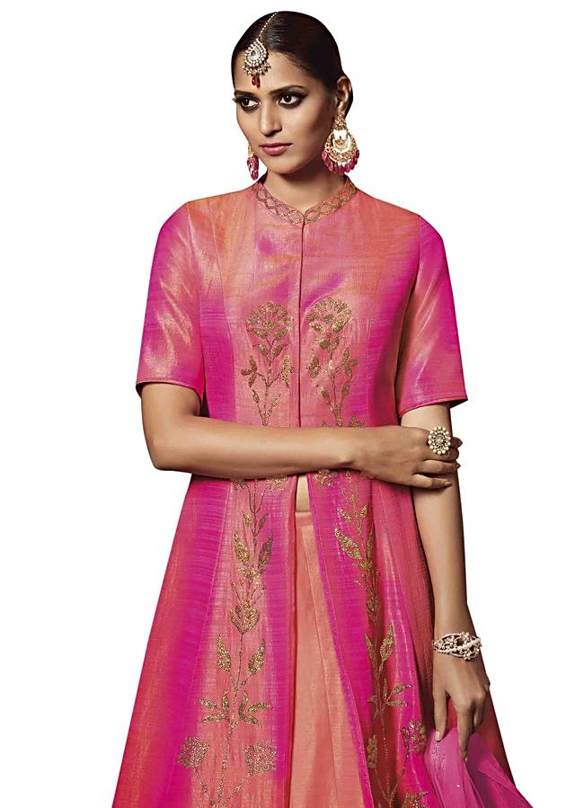 Peach lehenga with pink long embroidered jacket blouse