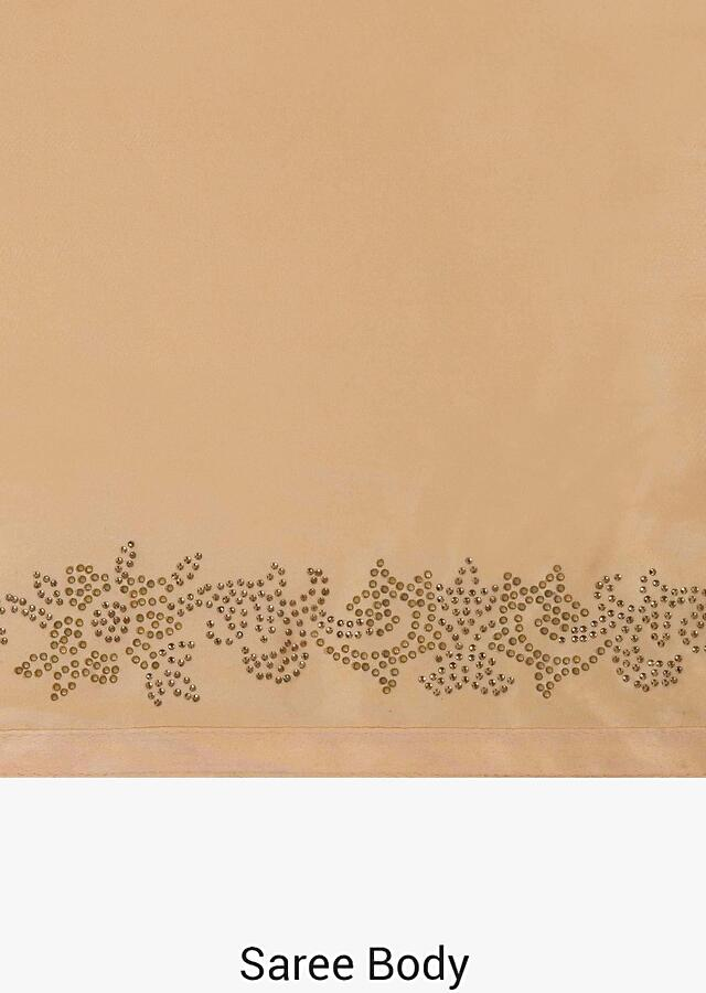 Peach saree in satin with unstitched blouse crafted in kundan embroidery work only on Kalki