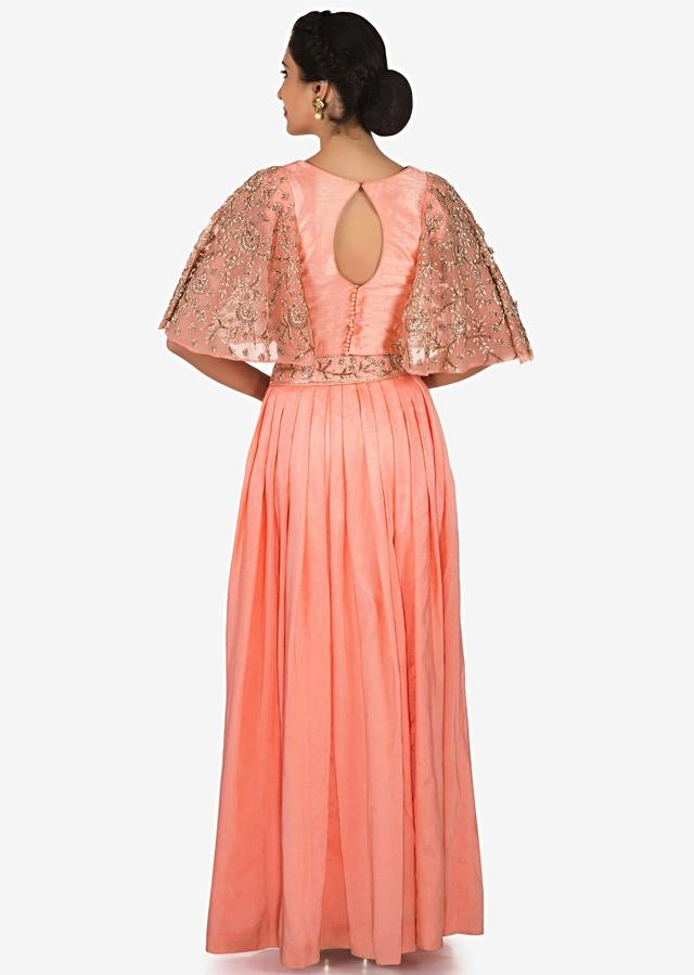 Peach Skirt And Top In Chiffon Enhanced With Zardosi And Cut Dana Embroidery Work Online - Kalki Fashion