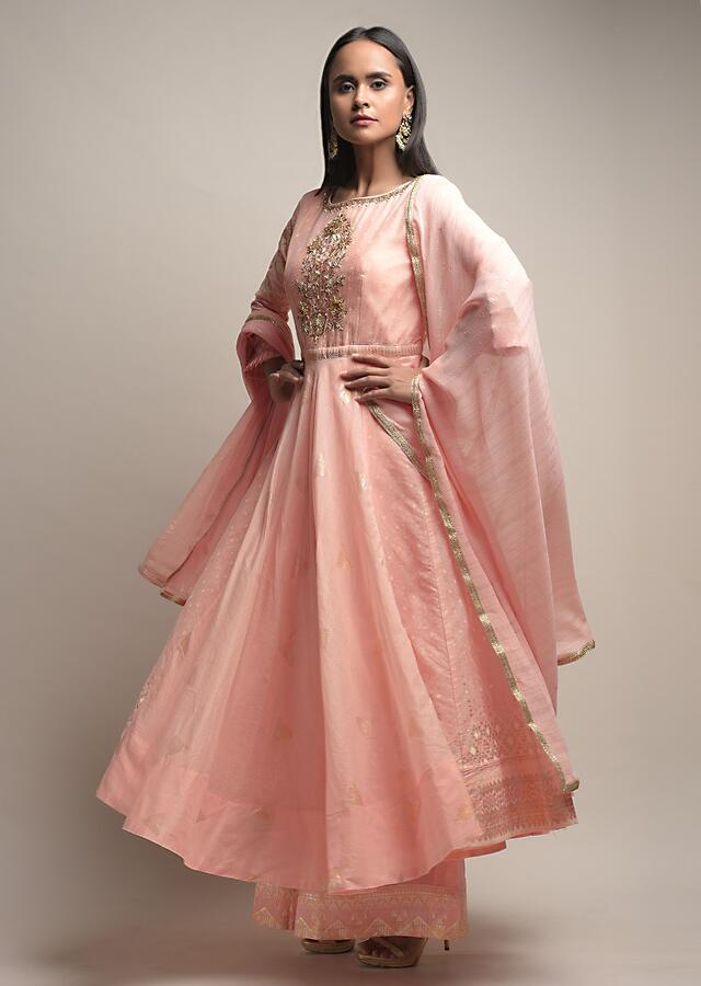 Peachy Pink Anarkali Suit With Matching Palazzo Pants And Zardosi Embroidery Detailing Online - Kalki Fashion
