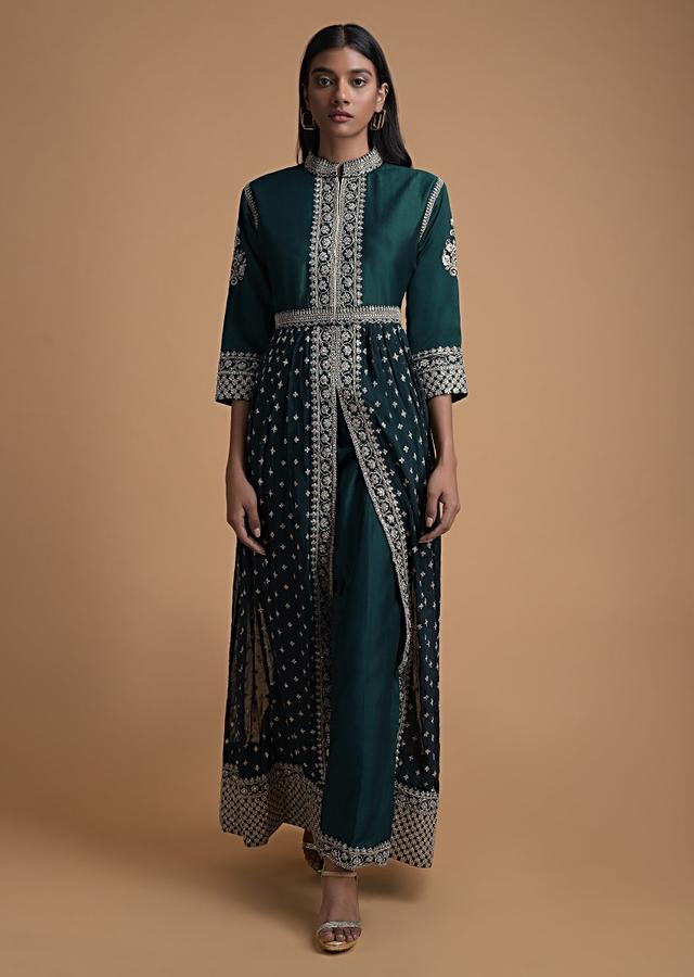 Peacock Blue Anarkali Suit With Front Slit And  Embroidered Buttis Online - Kalki Fashion