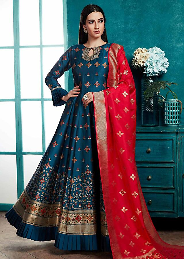 Peacock Blue Anarkali Suit With Weaved Floral Buttis And Carmine Red Banarasi Dupatta Online - Kalki Fashion