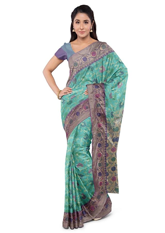 Peacock Blue Saree In Brocade With Two Toned Blouse Piece Online - Kalki Fashion