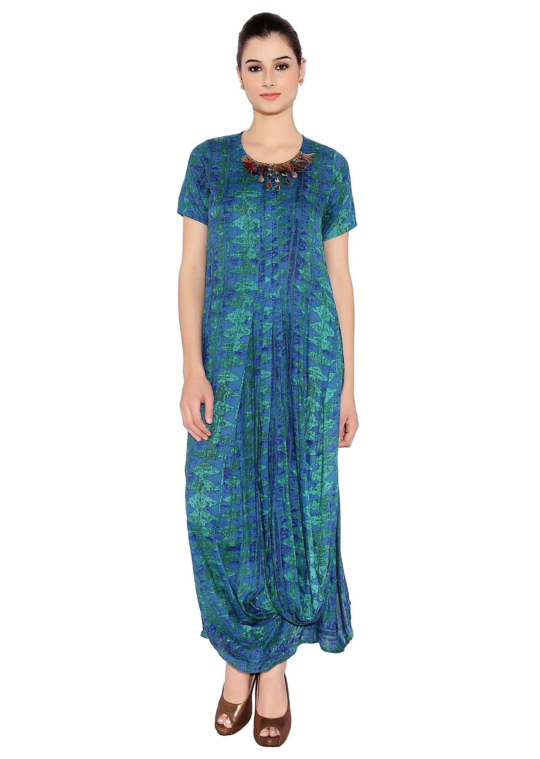 b54fccb662f62 Peacock Blue Cotton Kurti With Maxi Style And All Over Print And  Embellished Neckline Only On KalkiMore Detail