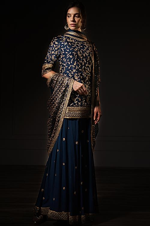 Peacock Blue Palazzo Suit Set In Cotton Silk With Zari Embroidery Online - Kalki Fashion