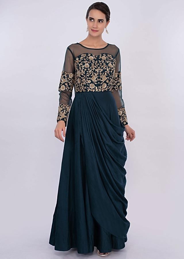 Peacock Blue Gown With Cowl Drape And Embroidered Bodice Online - Kalki Fashion