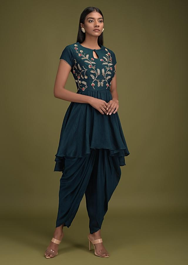 Peacock Blue Dhoti Suit In Cotton Silk With Embroidered High Low Flared Kurti Online - Kalki Fashion