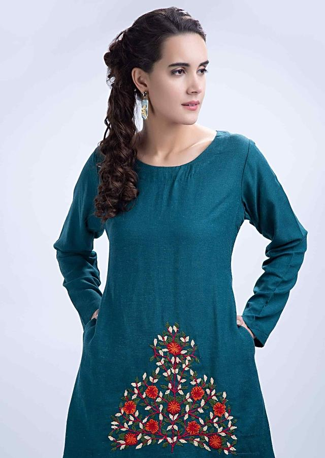 Peacock Blue High Low Kurti With Floral Embroidered Butti Online - Kalki Fashion