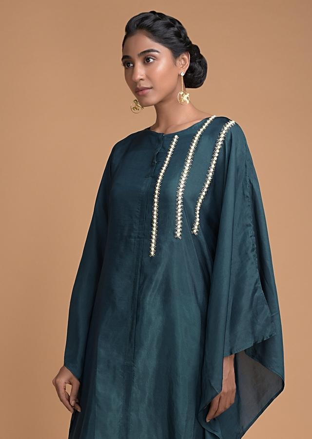 Peacock Blue Kaftan Dhoti Suit Embellished In Stripe Pattern On The Bodice Online - Kalki Fashion
