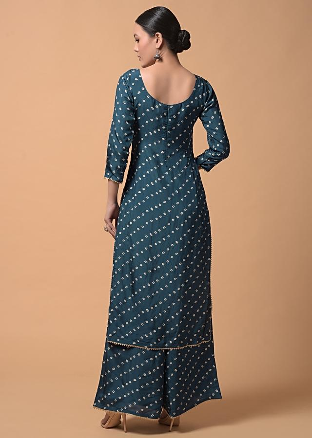 Peacock Blue Palazzo Suit In Satin Silk With Bandhani Print All Over Online - Kalki Fashion