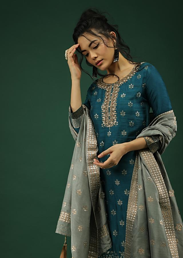 Peacock Blue Palazzo Suit In Silk With Brocade Floral Buttis And Matching Cloud Grey Brocade Dupatta Online - Kalki Fashion