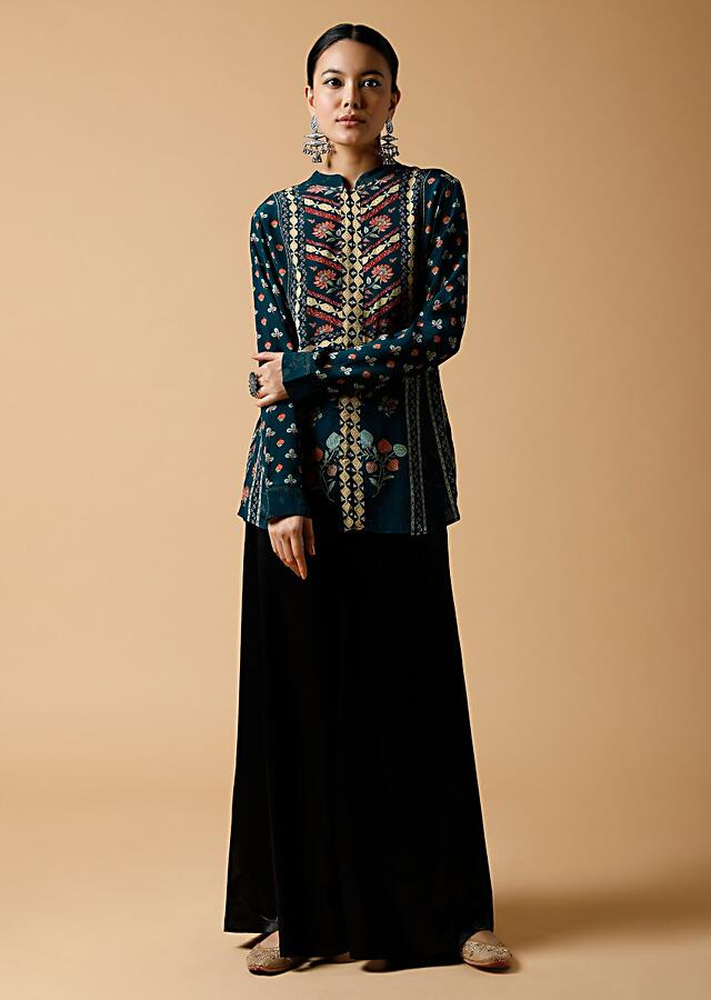 Peacock Blue Short Kurti In Crepe With Multi Colored Geometric And Floral Print Online - Kalki Fashion