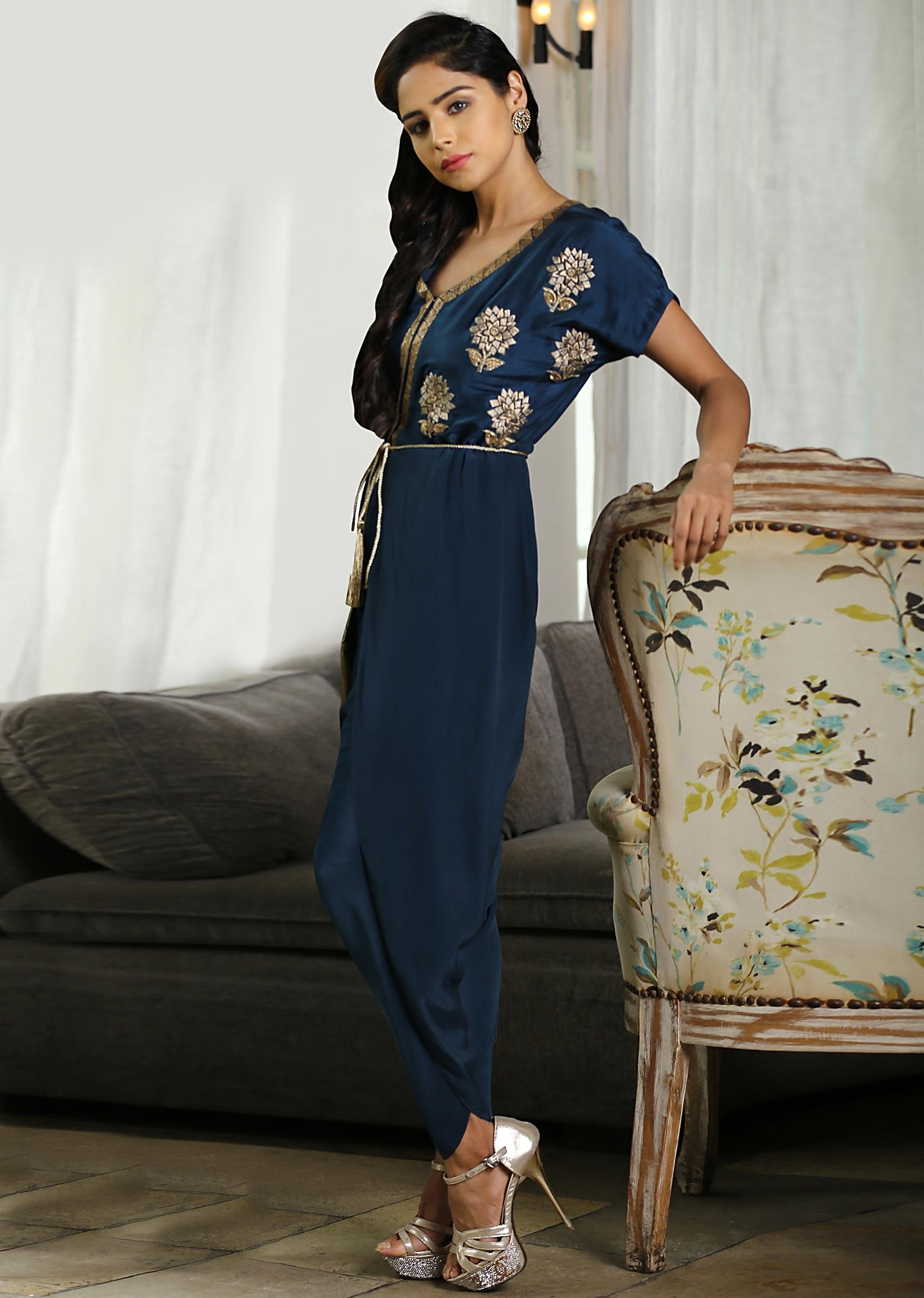76f7eb2503ba5 Peacock blue silk jumpsuit with additional georgette layer in dhoti style  only on Kalki