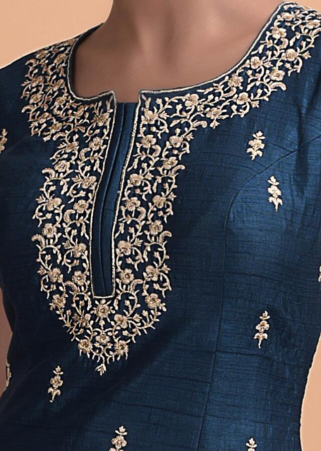 Peacock Blue Skirt And A Short Kurti In Silk With Sequins And Zari Work Online - Kalki Fashion