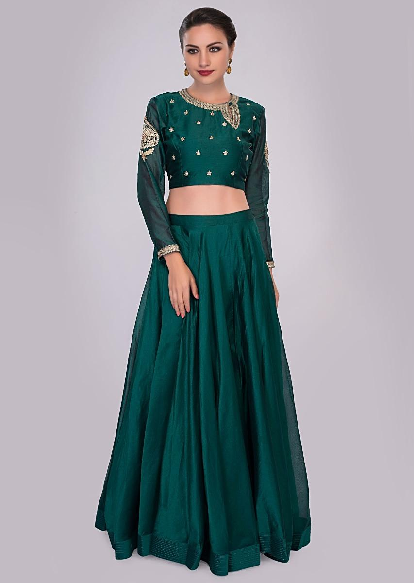 9e65f981dcbe6 Peacock blue skirt and blouse paired with matching only on Kalki