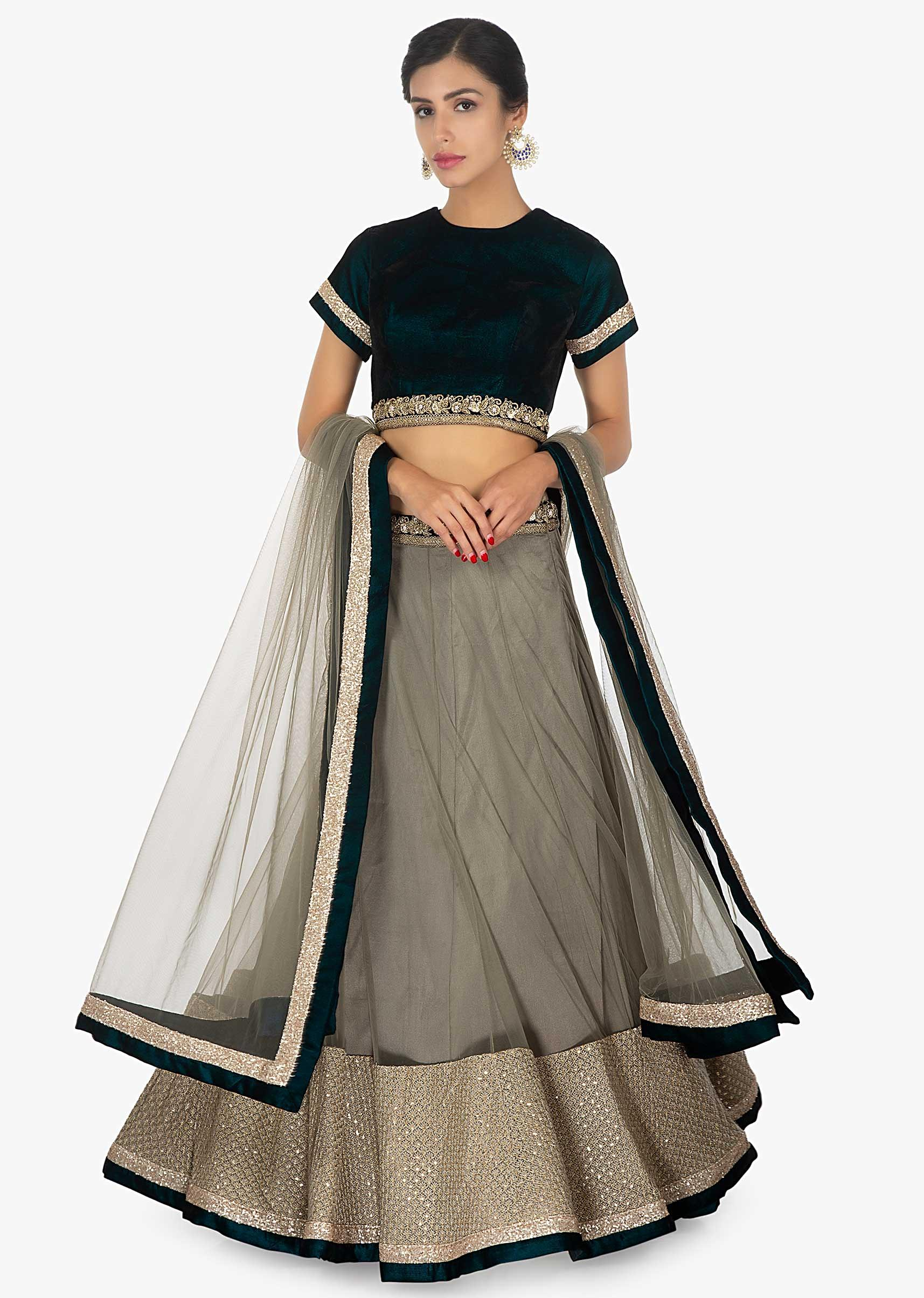 bfa3de01d36970 Peacock blue velvet blouse paired with a net satin grey lehenga only on  Kalki More Detail