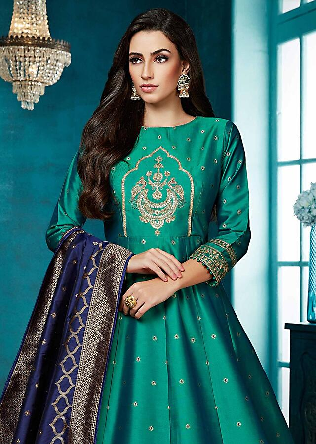 Peacock Green Anarkali Suit With Embroidered Heritage Motif And Weaved Pattern Online - Kalki Fashion