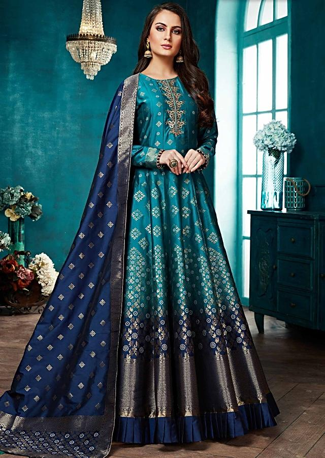 Peacock Green And Navy Blue Ombre Anarkali Suit With Banarasi Dupatta Online - Kalki Fashion