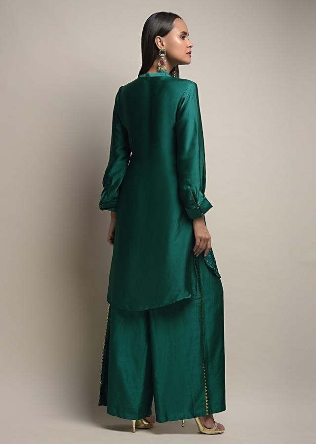 Peacock Green Palazzo Suit In Satin Silk With Real Bandhani And Tassel Detailing Online - Kalki Fashion