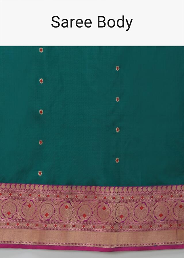 Peacock Green Pure Handloom Saree In Silk With Woven Flower Buttis And Magenta Border Online - Kalki Fashion