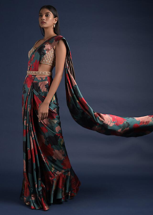 Peacock Green Ready Pleated Saree With Floral Print And Embellished Blouse Online - Kalki Fashion