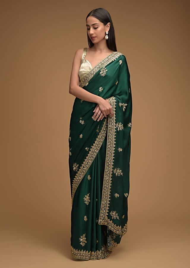 Peacock Green Saree In Satin With Hand Embroidered Floral Buttis Using Cut Dana And Sequins Work Along With Unstitched Blouse Online - Kalki Fashion
