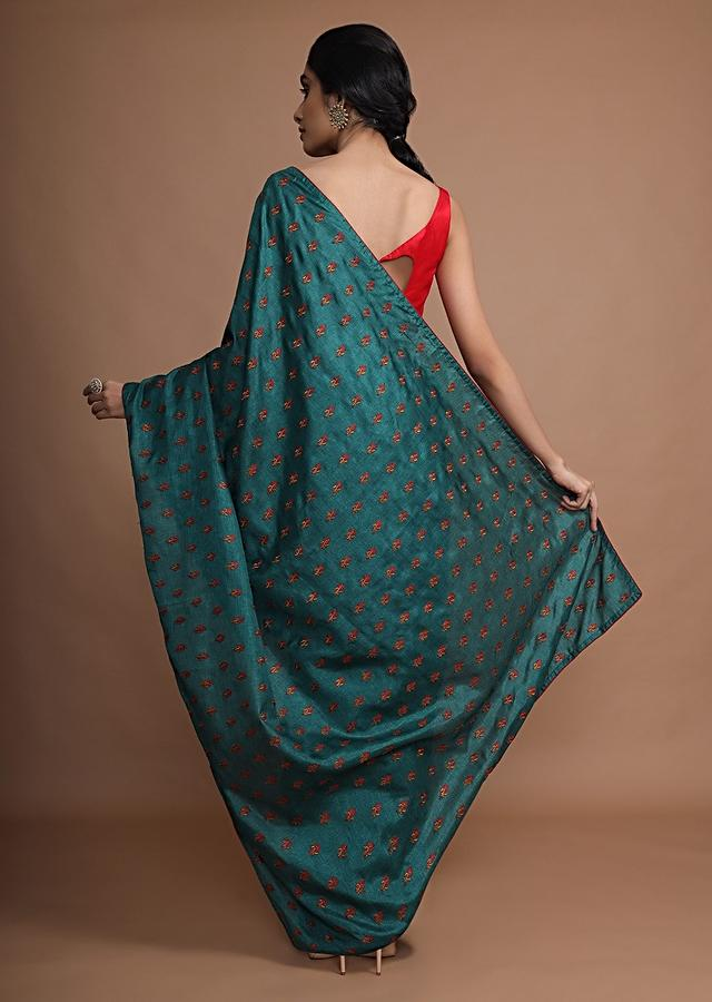 Peacock Green Saree In Silk With Resham Embroidered Floral Buttis Online - Kalki Fashion