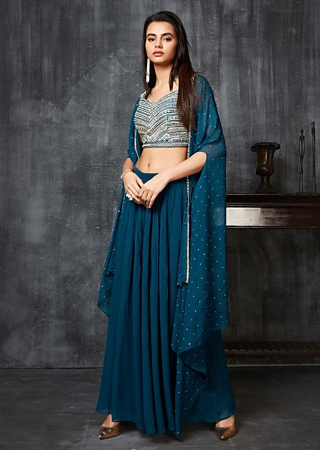 Peacock Blue Palazzo Suit In Georgette With Mirror Embroidered Crop Top And Matching Cape Online - Kalki Fashion