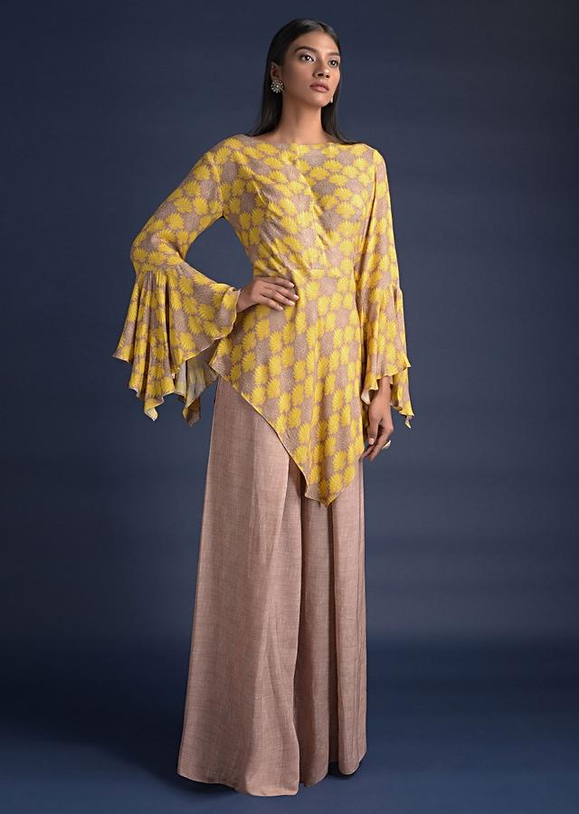 Peanut Beige Palazzo Suit With Fancy Bell Sleeves And Asymmetric Cut Hem Online - Kalki Fashion
