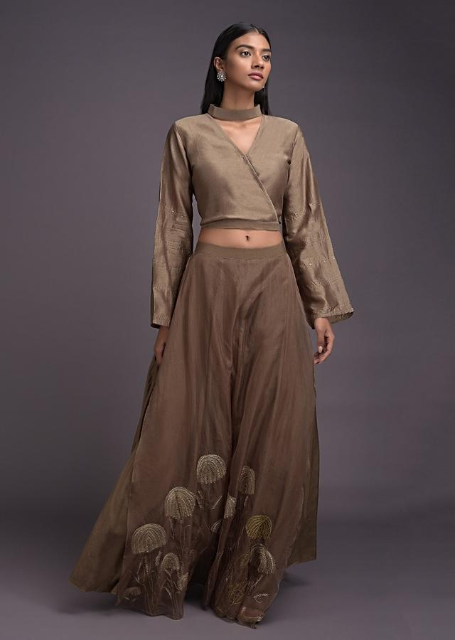 Peanut Brown Lehenga And Crop Top With Embroidered Organza Layer Online - Kalki Fashion