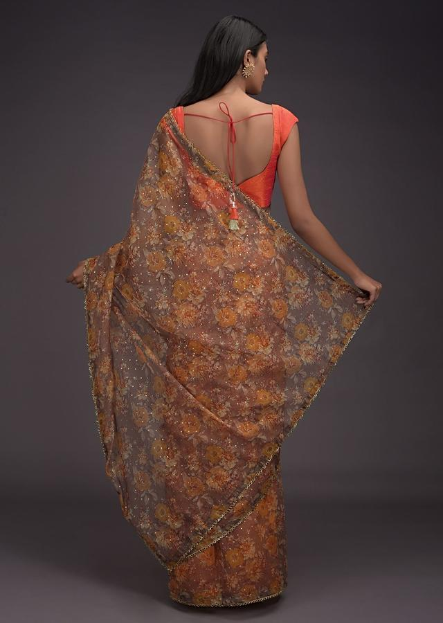 Peanut Brown Saree In Organza With Printed Floral Jaal And Cut Dana Trim On The Border Online - Kalki Fashion