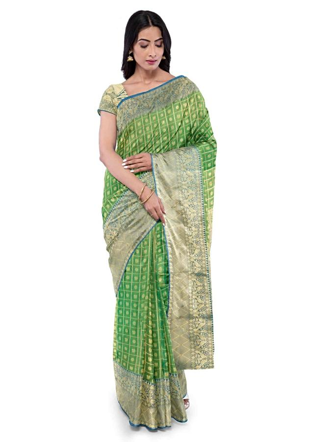 Pear Green Saree In Two Toned Banarasi Silk With Teal Blue Two Toned Blouse Piece Online - Kalki Fashion
