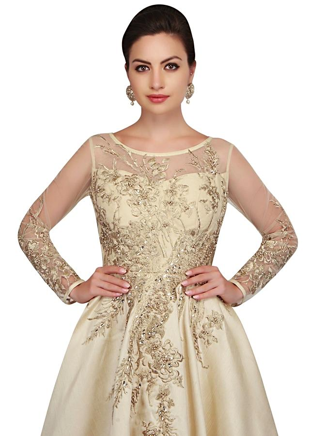 Pearl Cream Gown With Bodice In Pearl And Zari Work Online - Kalki Fashion