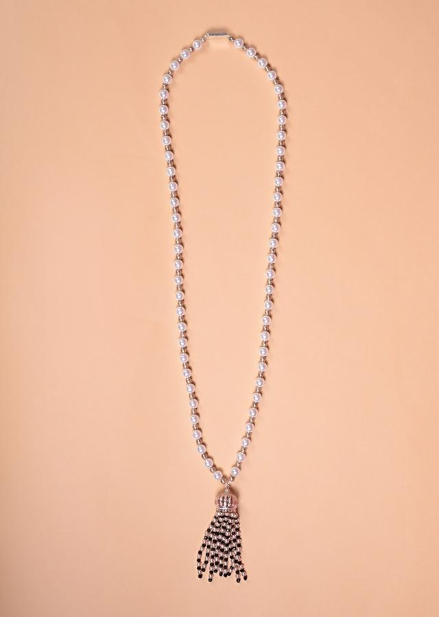 Pearl Necklace With Rose Gold Plated Dome Pendant With Stones And Beads Tassels Online - Kalki Fashion