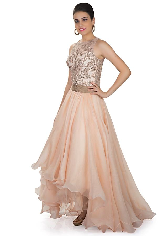 Pearl Peach Gown In Net And Organza Satin Adorned With Embroidery Online - Kalki Fashion