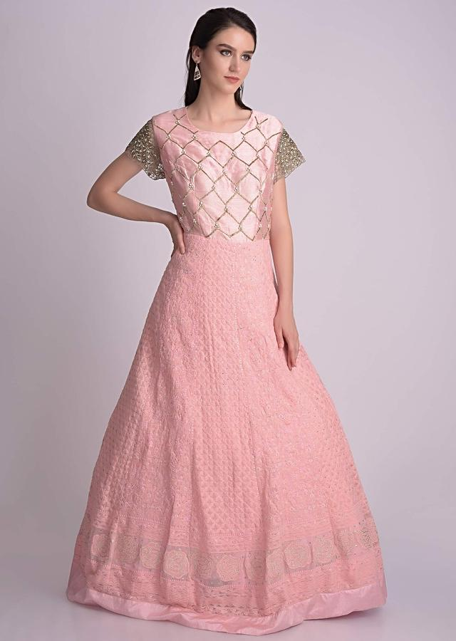 Pearl Pink Anarkali Suit With Lucknowi Thread Work Online - Kalki Fashion