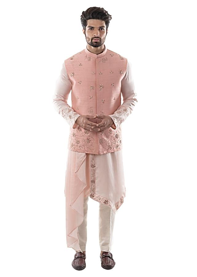 Pearl Pink Bandi In Raw Silk With French Knot Work And Zardozi Embroidery Paired With Dusty Pink Asymmetric Kurta Set Online - Kalki Fashion