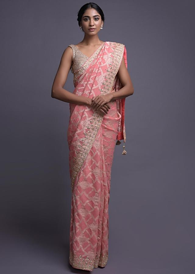 Pearl Pink Saree In Chiffon With Weaved Pattern And Gotta Work Online - Kalki Fashion