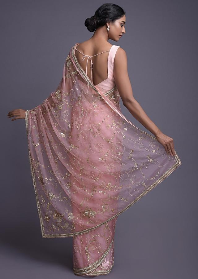Pearl Pink Saree In Organza With Sequins And Cut Dana Work In Floral Buttis Online - Kalki Fashion