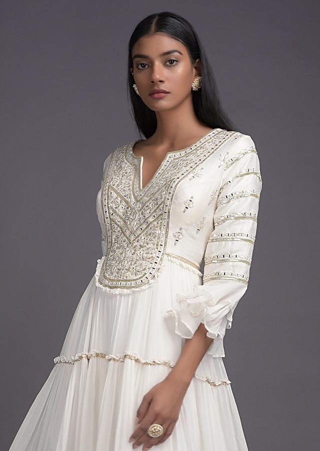 Pearl White Anarkali Suit With Tiered Silhouette And Abla Embroidery Online - Kalki Fashion