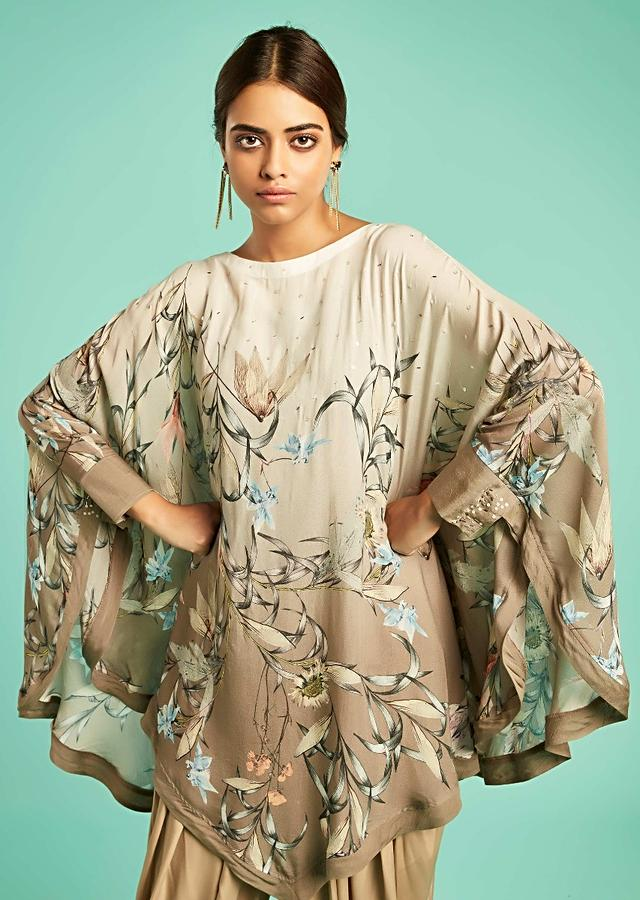 Pearl White And Sidewalk Grey Ombre Cape  With Floral Print