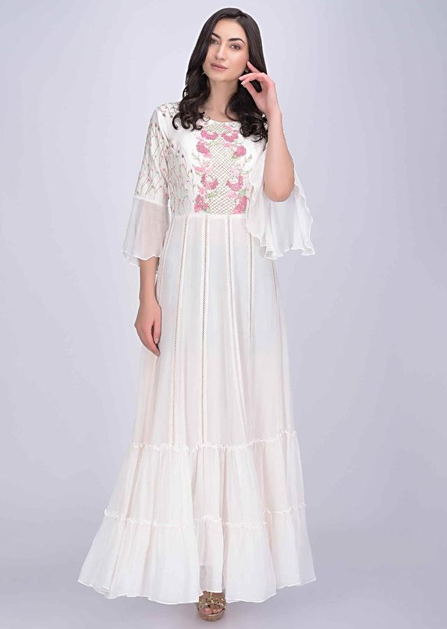 Pearl White Anarkali Dress In Chiffon And Cotton Silk Online - Kalki Fashion